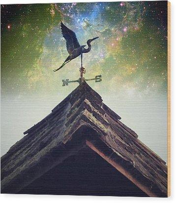The Heron Vane Wood Print