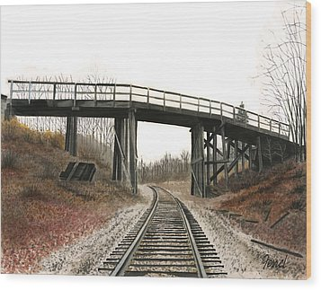 Wood Print featuring the painting The High Bridge by Ferrel Cordle