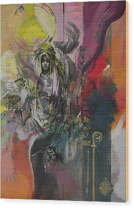 The High Priestess Wood Print by Corporate Art Task Force