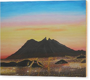 The Hill Of Saddle Monterrey Mexico Wood Print by Jorge Cristopulos
