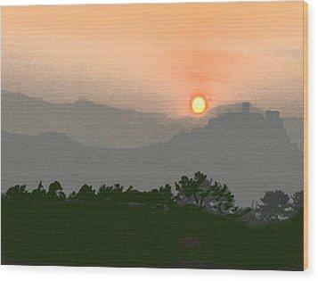 The Hills Of Aragon Wood Print by Dennis Buckman