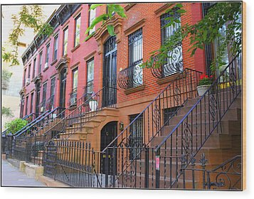 The Historic Brownstones Of Brooklyn Wood Print by Dora Sofia Caputo Photographic Art and Design