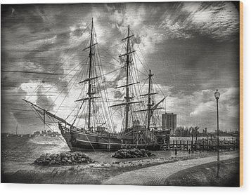 The Hms Bounty In Black And White Wood Print by Debra and Dave Vanderlaan