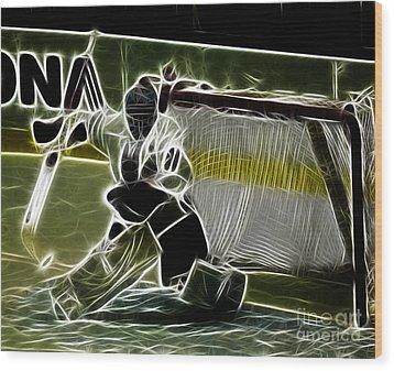 The Hockey Goalie Wood Print by Bob Christopher