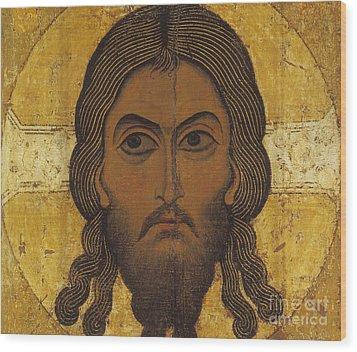 The Holy Face Wood Print by Novgorod School