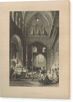 The Holy Sepulchre 1886 Engraving With Border Wood Print by Antique Engravings