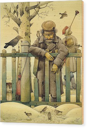 The Honest Thief 02 Illustration For Book By Dostoevsky Wood Print by Kestutis Kasparavicius