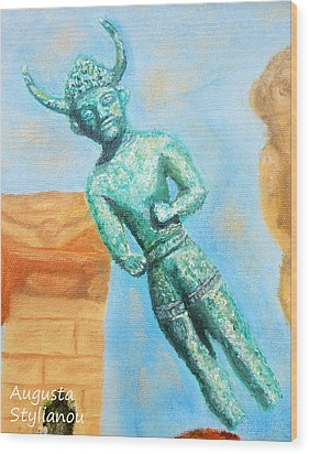The Horned God From Egkomi .  Wood Print by Augusta Stylianou