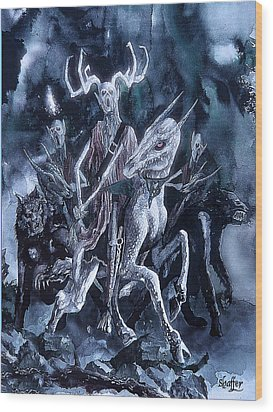 Wood Print featuring the painting The Horned King 2 by Curtiss Shaffer