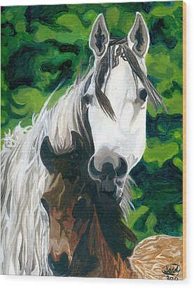 Wood Print featuring the painting The Horse And Her Foal by Saad Hasnain