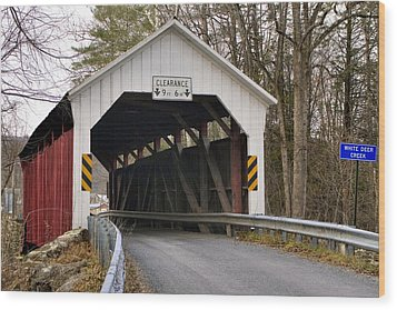 Wood Print featuring the photograph The Horsham Covered Bridge by Gene Walls
