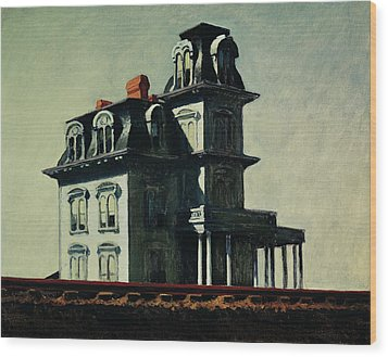 The House By The Railroad Wood Print by Edward Hopper