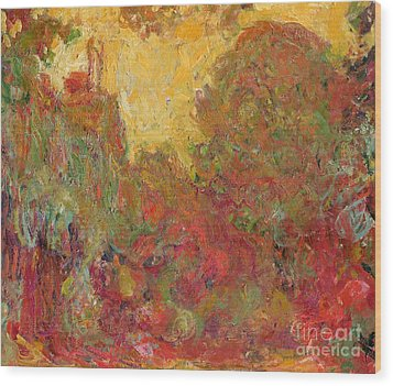The House Seen From The Rose Garden Wood Print by Claude Monet