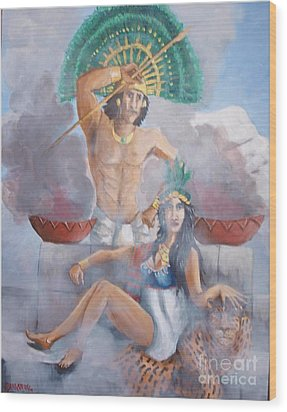 The Huey Tlatoni Or Emperor And Wife Wood Print