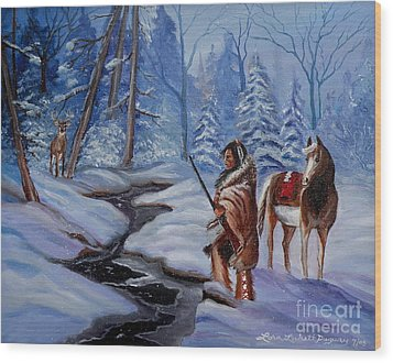 The Hunt Wood Print by Lora Duguay