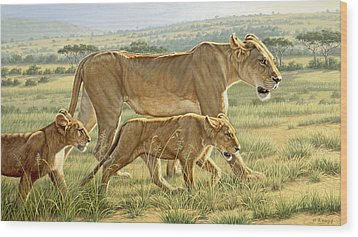 The Hunting Lesson Wood Print by Paul Krapf