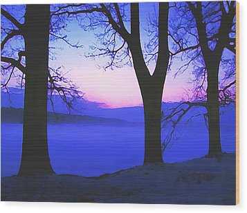 Wood Print featuring the painting The Hush At First Light by Sophia Schmierer