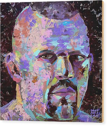 Wood Print featuring the painting The Iceman Chuck Liddell by Robert Phelps