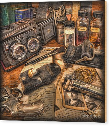 The Identification Bureau - Police Officer Wood Print by Lee Dos Santos