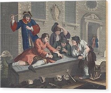The Idle Prentice At Play In The Church Wood Print by William Hogarth