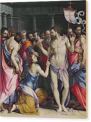 The Incredulity Of Saint Thomas Wood Print by Francesco de Rossi Salviati Cecchino