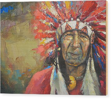The Indian Chief Wood Print by Dmitry Spiros