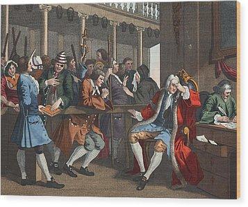 The Industrious Prentice Alderman Wood Print by William Hogarth