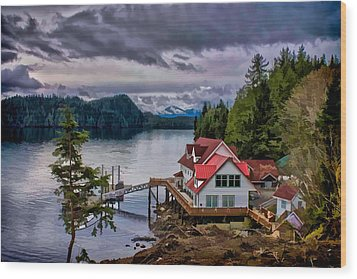 The Inlet Painitng Wood Print by Timothy Latta
