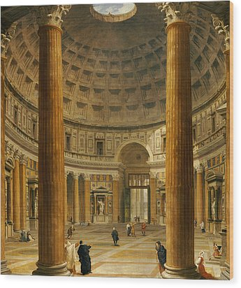 The Interior Of The Pantheon Wood Print by Giovanni Paolo Panini