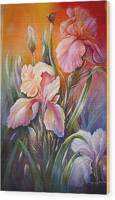The Iris Of  Spring  Wood Print by Patricia Schneider Mitchell