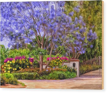 Wood Print featuring the painting The Jacaranda by Michael Pickett