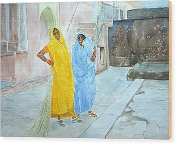 The Janitors Of Amber Fort Wood Print