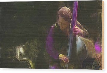 The Jazz Bassist Wood Print by Michael Malicoat