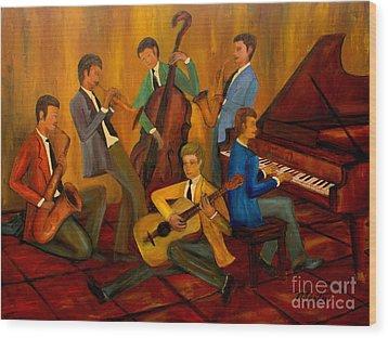 The Jazz Company Wood Print by Larry Martin