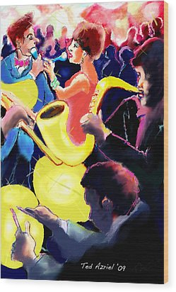 Wood Print featuring the digital art The Jazz Singers by Ted Azriel