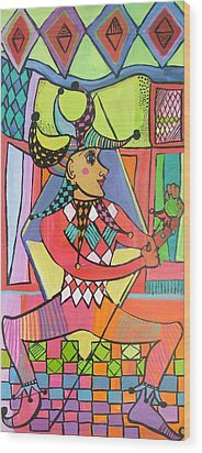The Jester Wood Print by Janet Ashworth