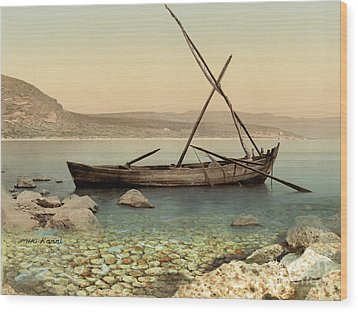 The Jesus Boat At The Sea Of Galilee  Wood Print by Miki Karni