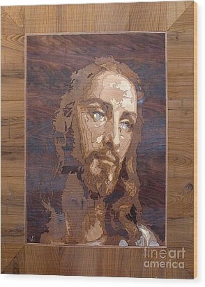The Jesus Christ Marquetry Wood Work Wood Print by Persian Art