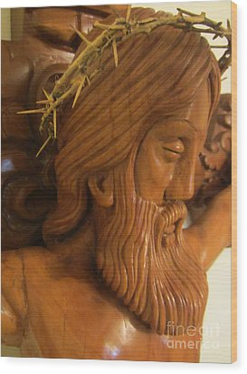 The Jesus Christ Sculpture Wood Work Wood Carving Poplar Wood Great For Church 2 Wood Print by Persian Art
