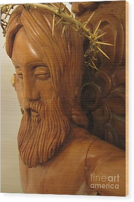 The Jesus Christ Sculpture Wood Work Wood Carving Poplar Wood Great For Church 3 Wood Print by Persian Art