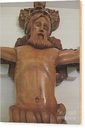 The Jesus Christ Sculpture Wood Work Wood Carving Poplar Wood Great For Church 4 Wood Print by Persian Art