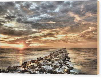 The Jetties At Ponce Inlet Wood Print