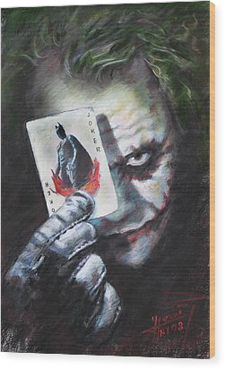 The Joker Heath Ledger  Wood Print by Viola El