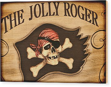 The Jolly Roger Wood Print by Kathy Clark