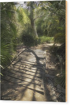 Wood Print featuring the photograph The Journey Along The Path Comes With Light And Shadows by Lucinda Walter