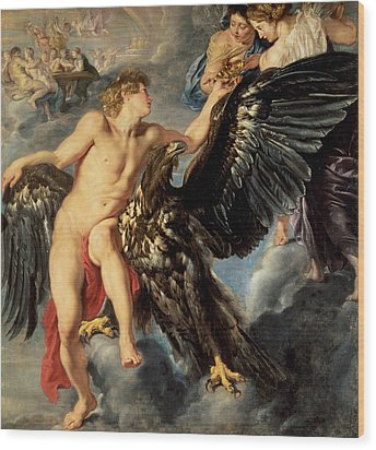 The Kidnapping Of Ganymede Wood Print by Rubens