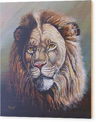 Wood Print featuring the painting The King by Anthony Mwangi