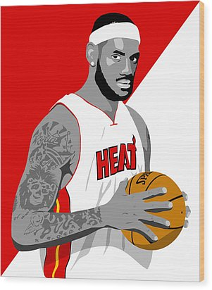 The King Lebron James Wood Print by Paul Dunkel