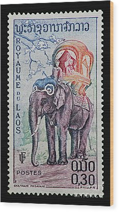 Wood Print featuring the photograph The King's Elephant Vintage Postage Stamp Print by Andy Prendy