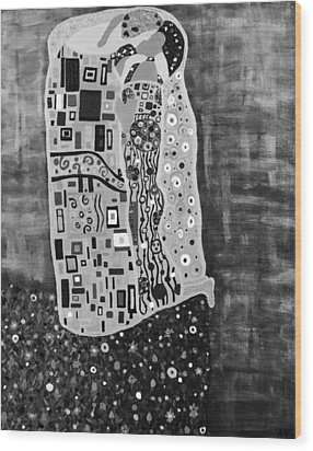 The Kiss Bw Wood Print by Angelina Vick